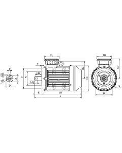 IE4 Elmotor 0,75 kW 230VD/400VY 50 Hz 1000 RPM 6060900300